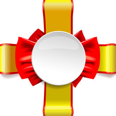 Celebratory blank, circle red and gold ribbon, bow