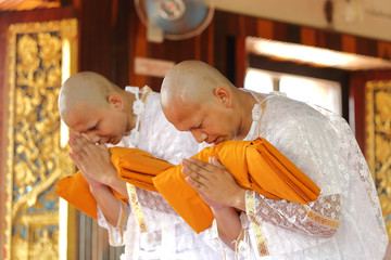 the ordination ceremony of the new monk