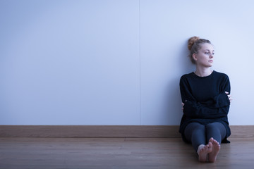 Lonely thoughtful girl