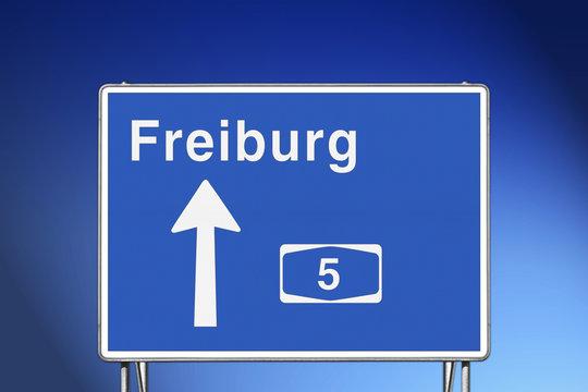 Wegweiser A5, Richtung Freiburg