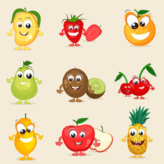 Concept of happy fruits character.