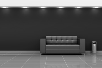 Modern Hall 3D Interior with Black Leather Sofa. 3D Rendering