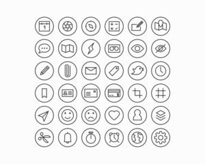 Mobile Geräte und Applikationen Line Icon Set