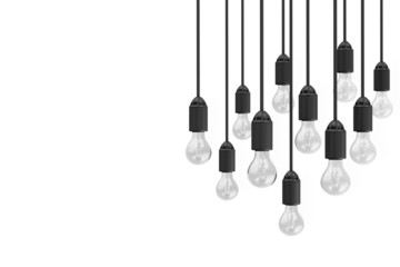 Modern Hanging Light Bulbs isolated on white background with place for Your Text