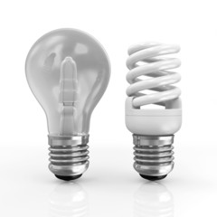 Modern Fluorescent Light Bulb and Ordinary Light Bulb isolated on white background