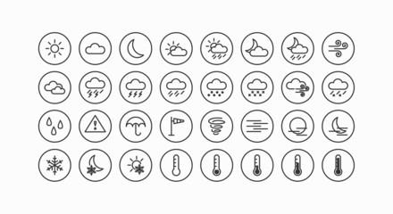 Modernes Wetter und Meteorologie Vektor Line Icon Set