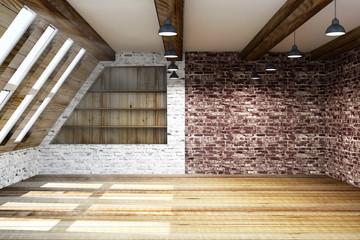 Modern Empty Mansard Room Interior with Large Windows. 3D Rendering