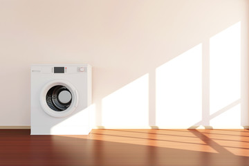 Modern Washing Machine Standing near the Wall in Room 3D Interior with Sunlight. 3D Rendering
