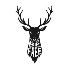 Concept silhouette of deer head with text inside on white