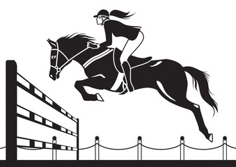 Jockey ride horse - vector illustration