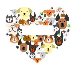 Dogs face in heart-shape