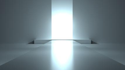 Fashion podium,empty white interior