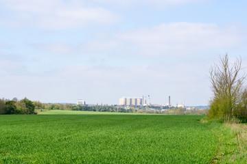 Farmland and Sugar beet factory in background rural Suffolk, Eng