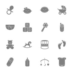 Baby silhouette icons set