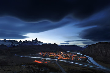 Night view to Mount Fitz Roy, Los Glaciares National Park, Patag