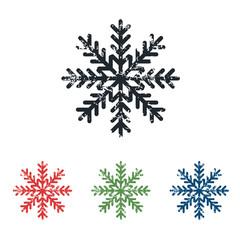 Snowflake grunge icon set