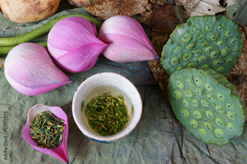 Collection Lotus Flower Seed Tea Healthy Food Stock Photo And