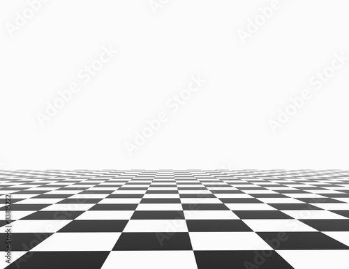 Chess board with white background template.\