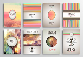 Vintage Styles brochure templates set with Labels