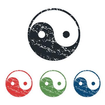 Ying yang grunge icon set