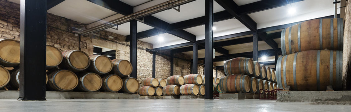 winery with  many wooden barrels