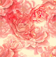 Watercolor tea roses seamless background pattern, toned