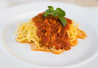 The spaghetti dishes.