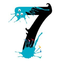 Illustration of Seven Number with monster. Design numbers set.