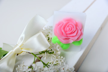 Handmade soap. Cake in the shape of flowers and roses