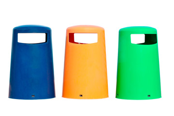 colored bins isolated on white background