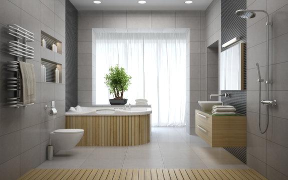 Interior of the modern design bathroom 3D rendering