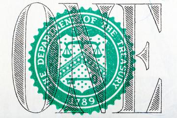 Detail of one dollar bill in macro.