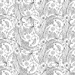Seamless black and white pattern in a zentangle style, handmade