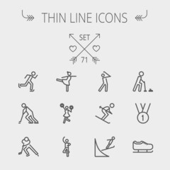 Sports thin line icon set