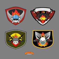 Special unit military logo set. Vector illustration