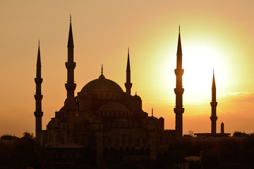 Istanbul. Blue Mosque at sunset