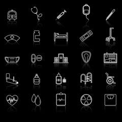 Hospital line icons with refelct on black