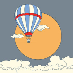 Air balloon flying in the clouds at sunset vector