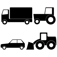 Truck, Tractor, Car and Loader