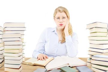 Beautiful blonde blue eyes studying