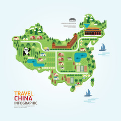 Infographic travel and landmark china map shape template design.