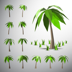 Low polygon 3D palm tree and grasses
