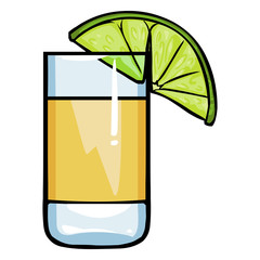 Vector Cartoon  Shot of Tequila with a Lime