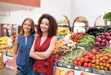 Women at greengrocer
