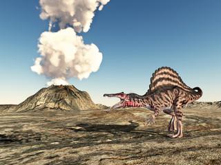 Dinosaur Spinosaurus and volcano