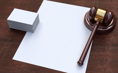 Judge gavel, white paper and business cards