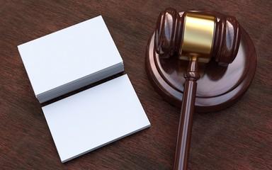 Judge gavel, white, blank business cards