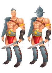 Roman Gladiator cartoon concept 1 isolated