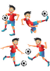 Spain soccer player cartoon character posing