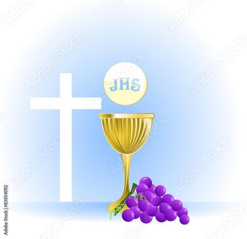 """Favoloso Simbolo di Prima comunione con calice e eucaristia"""" Stock image  FP79"""